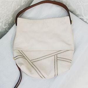 Fossil Large White Leather Shoulder Bag